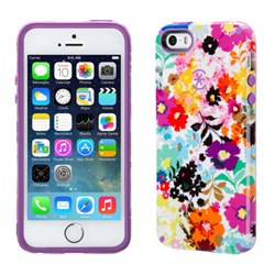 Apple Compatible Speck Candyshell Inked Case - Boldblossoms White and Revolution Purple SPK-A2752