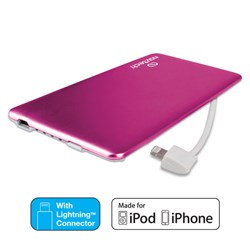 Naztech PB3200 MFi Slim PowerBank with Lightning Cable - Pink  12966-NZ