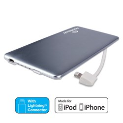 Naztech PB3200 MFi Slim PowerBank with Lightning Cable - Gray  12968-NZ