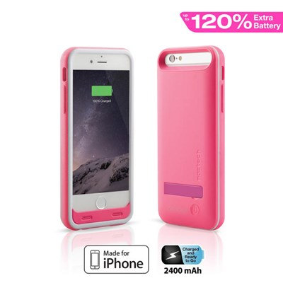 Apple Compatible Naztech MFi Power Case with Kickstand - Pink  13168-NZ