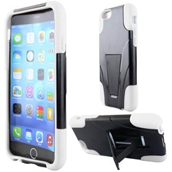 Apple Compatible Dual Layer Cover with Kickstand - White and Black  IPH6-HYB-WH