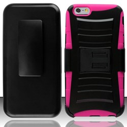 Apple Compatible Armor Style Case with Holster - Pink and Black  IPH6PLUS-PKBK-1AM2H