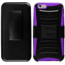 Apple Compatible Armor Style Case with Holster - Purple and Black  IPH6PLUS-PUBK-1AM2H