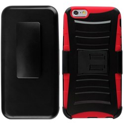 Apple Compatible Armor Style Case with Holster - Red and Black IPH6PLUS-RDBK-1AM2H