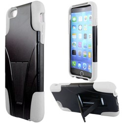 Apple Compatible Dual Layer Cover with Kickstand - Black and White  IPH6PLUS-WH-1HYB