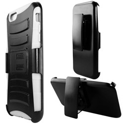 Apple Compatible Armor Style Case with Holster - White and Black  IPH6PLUS-WHBK-1AM2H