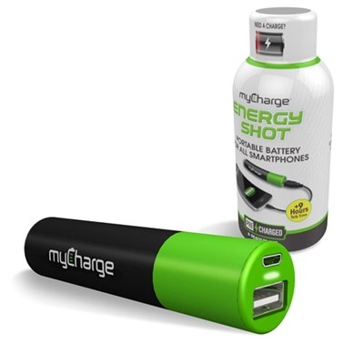 Mycharge Energy Shot Rechargeable Backup Battery (2000 Mah) With 1a Usb Port - Green And Black