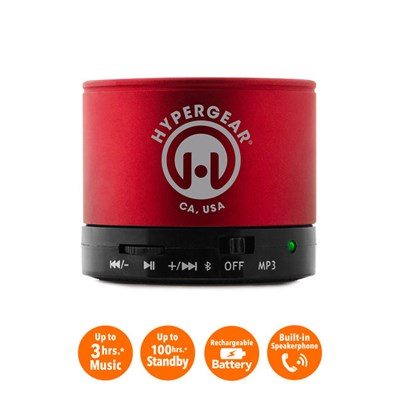 HyperGear MiniBoom Wireless Speaker with Built-in FM Radio- Red  13290
