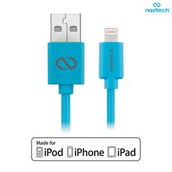 Apple Compatible Naztech Lightning MFi 6 foot Charge and Sync Cable - Blue  13498-NZ