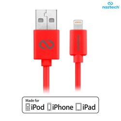 Apple Compatible Naztech Lightning MFi 6 foot Charge and Sync Cable - Red  13501-NZ