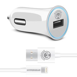 HyperGear 2.4A Rapid Vehicle Charger - Includes 4ft MFi Lightning Cable - White