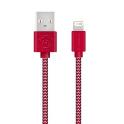 HyperGear Braided MFi Lightning 4 Foot Charge and Sync Cable - Red and Grey  13840-NZ