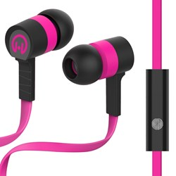 HyperGear Low Ryder Earphones with Mic - Pink and Black