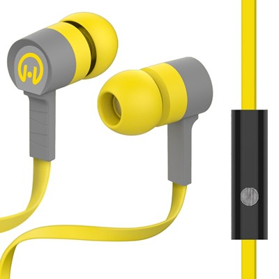 HyperGear Low Ryder Earphones with Mic - Yellow and Gray
