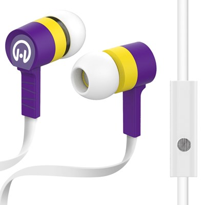 HyperGear Low Ryder Earphones with Mic - Yellow and Purple