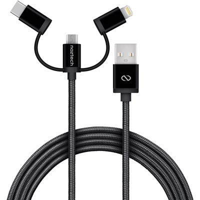 Naztech Braided 3-in-1 Hybrid USB Cable - Black  14145-NZ
