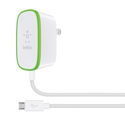 Belkin Boost Hardwired Micro Usb 2.4 amp Wall Charger - White And Green