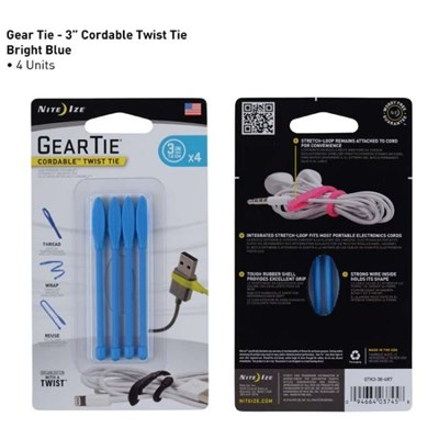 Geartie Cordable 3 Inch 4 Pack - Bright Blue