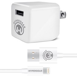 Apple Compatible HyperGear Rapid Wall Charger 2.4A with MFI Lightning Cable - White