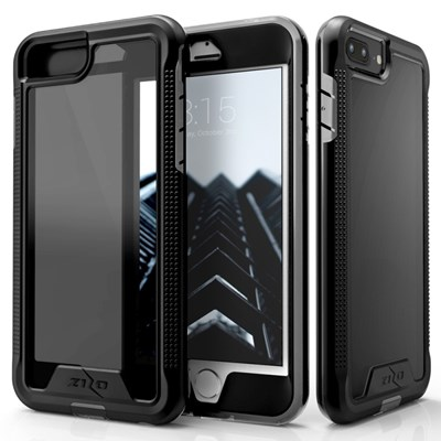Apple Compatible Zizo ION Triple Layered Hybrid Cover with Tempered Glass Screen Protector - Black and Black