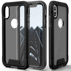 Apple Zizo ION Triple Layered Hybrid Cover with Tempered Glass Screen Protector - Black and Smoke