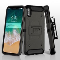 Apple 3-in-1 Kinetic Hybrid Protector Cover Combo with Black Holster - Dark Grey and Black