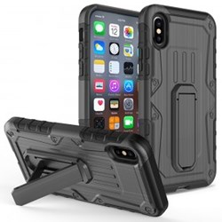 Apple Compatible Armor Hybrid Heavy Duty Cover with Kickstand - Black and Black