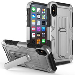Armor Hybrid Heavy Duty Cover with Kickstand - Gray and Black