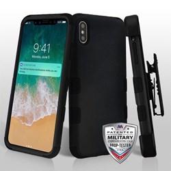 Apple MyBat TUFF Hybrid Phone Protector Cover with Black Horizontal Holster- Rubberized Black