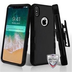 Apple MyBat TUFF Hybrid Phone Protector Cover with Black Horizontal Holster - Natural Black