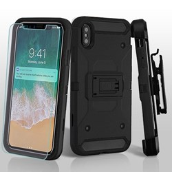 MyBat 3-in-1 Kinetic Hybrid Protector Cover Combo with Black Holster and Tempered Glass Screen Protector - Black