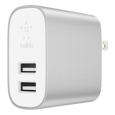Belkin - Boost Up Wall Charger Dual Port 12w / 4.8a Universal - White And Silver