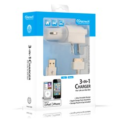Apple Certified 1 Amp Naztech Vehicle and Travel Charger Combo - White   N300-11661NZ