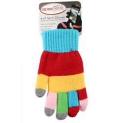 Boss Tech Touch Screen Gloves - Multicolor Rainbow and Gray Tips   GLOVERNBW