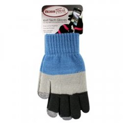 Boss Tech Touch Screen Gloves - Blue and Gray Striped with Gray Tips  BTP-GLV-BLUGRY
