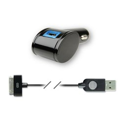 Apple Compatible Qmadix 2.1 Amp USB Mobile Charging Kit - Black QM-1500-AP