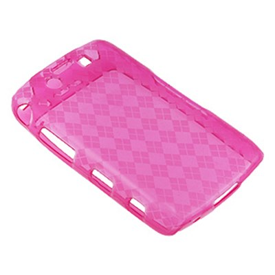 Blackberry Compatible Crystal Skin TPU Cover - Transparent Pink Checkers  TPU-BB9550-TPID02