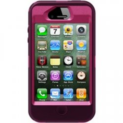 Apple Compatible Otterbox Defender Interactive Rugged Case and Holster - Peony Pink and Deep Plum  77-18587