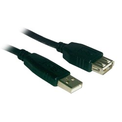 Black USB Extension Cable - 12 Inch  USBAMB-01