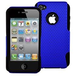 Apple Compatible Decoro Mesh Hybrid Case - Blue On Black HCIP4BKBLM