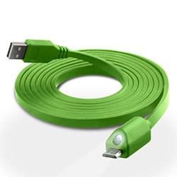 LED Micro USB Charge and Sync Cable with Capacitive Touch Control - Green 12424-NZ