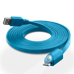 LED Micro USB Charge and Sync Cable with Capacitive Touch Control - Blue 12425-NZ