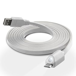 LED Micro USB Charge and Sync Cable with Capacitive Touch Control - White 12496-NZ